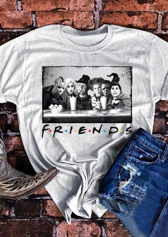 Horror Movie Friends T-Shirt Tee – Light Grey