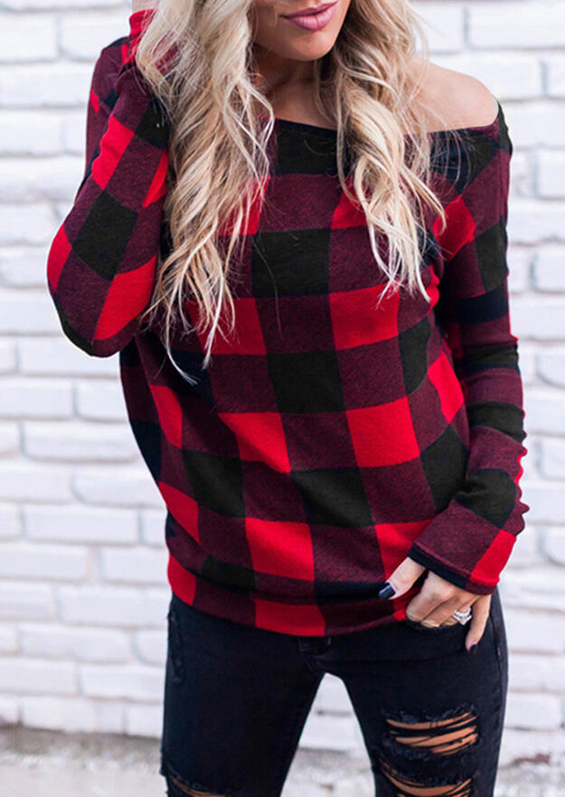 Red Black Plaid Off Shoulder Blouse For Women in Red. Size: S,M,L,XL фото