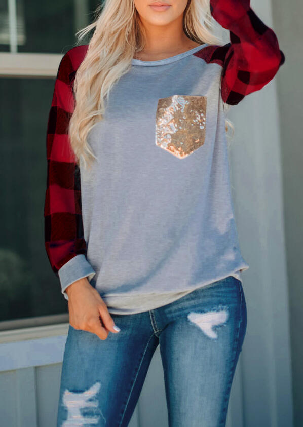 Red Black Plaid Sleeves Splicing Sequined Pocket Long Sleeves T-Shirt in Red. Size: S,M,L,XL,2XL,3XL фото