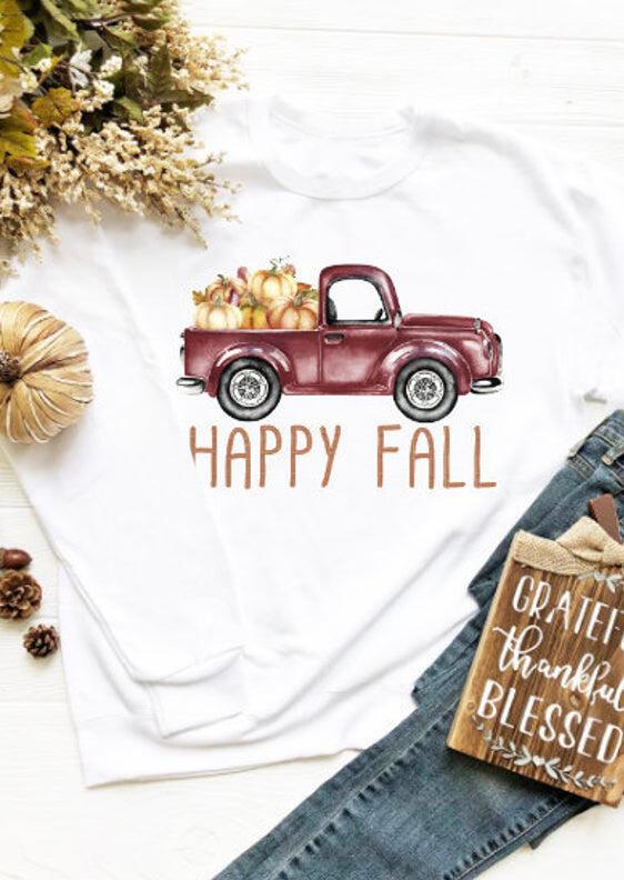 Pumpkin Happy Fall O-Neck Sweatshirt – White