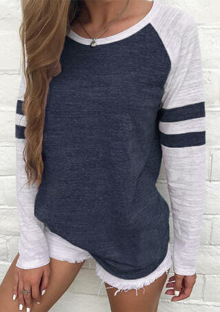 Striped Splicing Baseball T-Shirt without Necklace