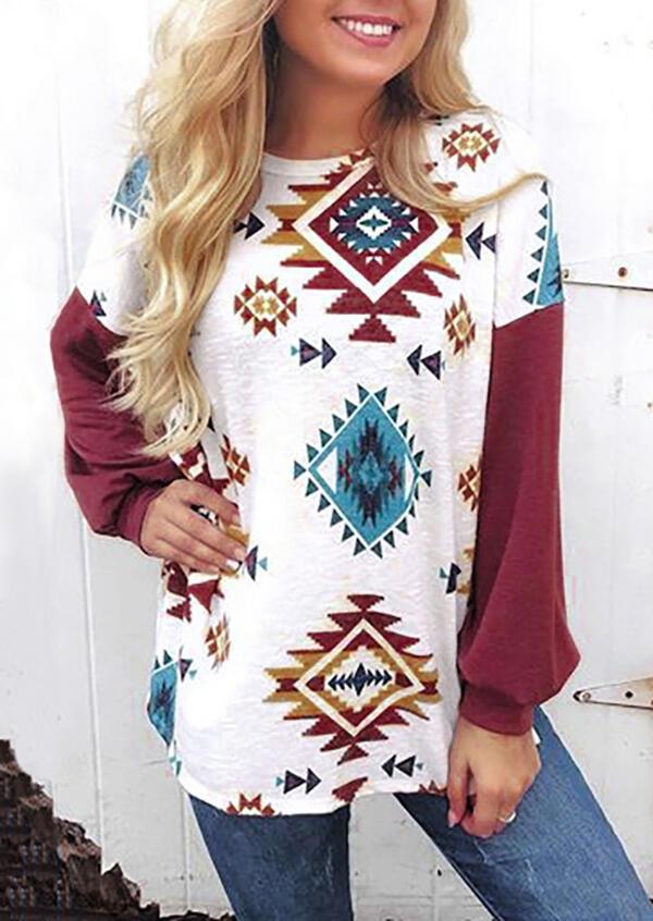 Aztec Geometric Printed Long Sleeve T-Shirt Tee – White