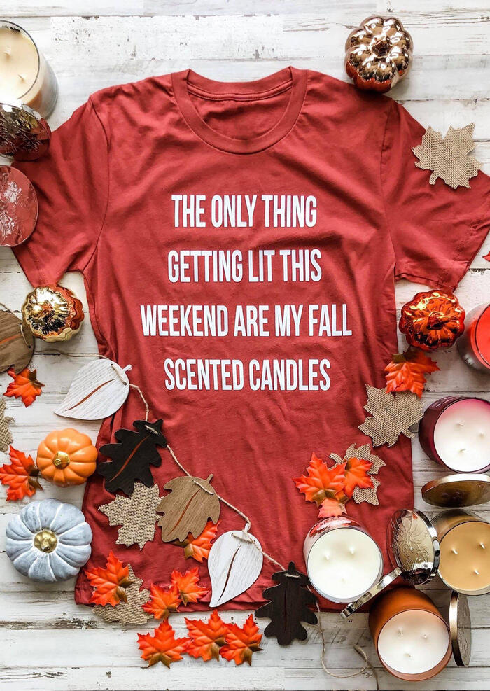 Scented Candles O-Neck T-Shirt Tee – Brick Red