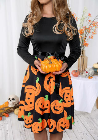 Halloween Pumpkin Long Sleeve Casual Dress - Black
