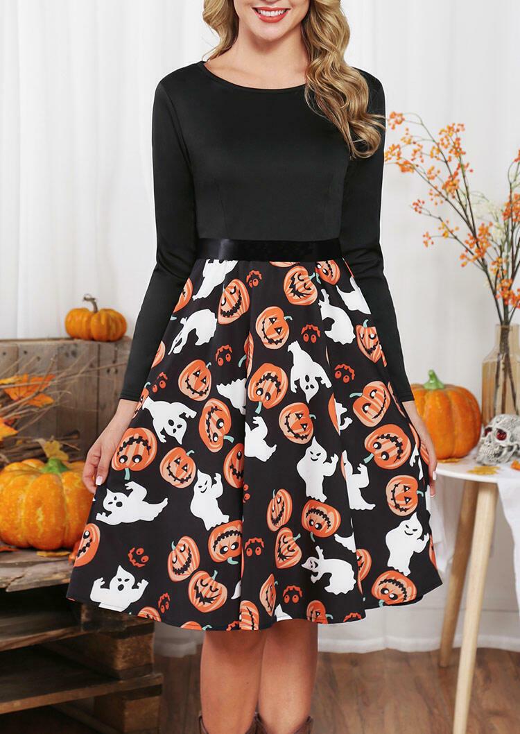 Halloween Pumpkin Face Long Sleeve Party Dress – Black