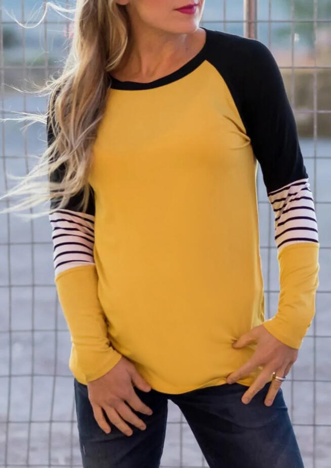 Striped Color Block Splicing T-Shirt Tee – Yellow