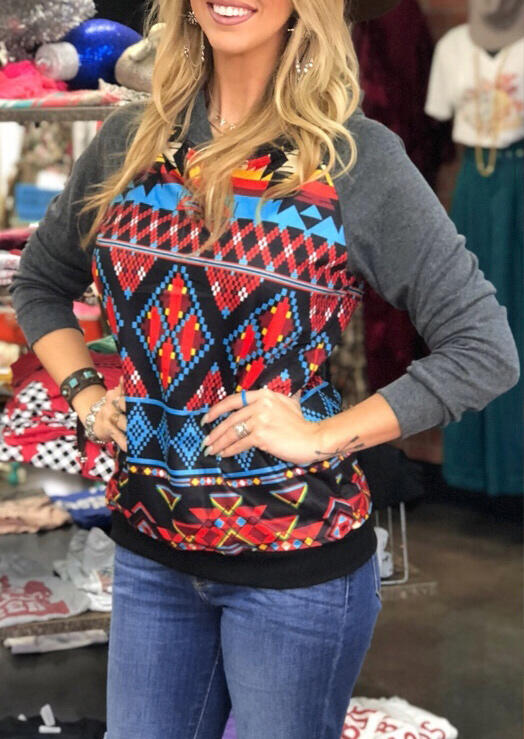 Aztec Geometric Printed Hoodie without Necklace – Gray
