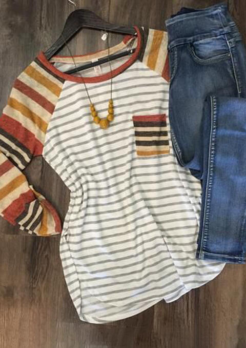 Striped Splicing Pocket Long Sleeve T-Shirt Tee