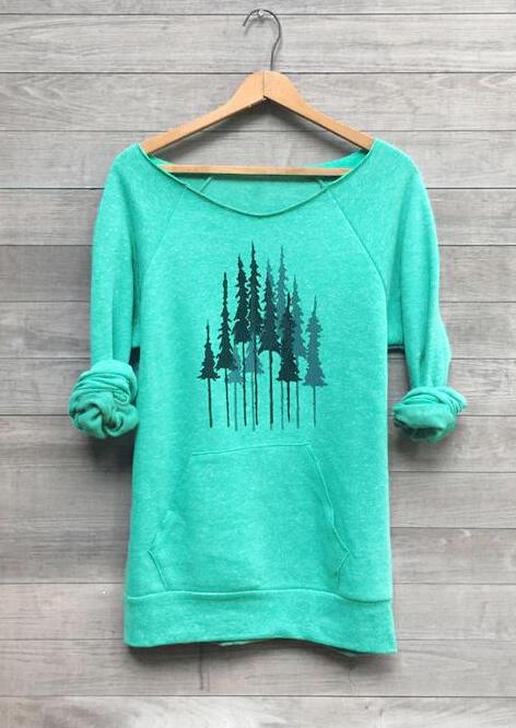 Trees O-Neck Kangaroo Pocket Sweatshirt – Green
