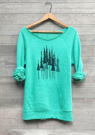 Trees O-Neck Kangaroo Pocket Sweatshirt - Green
