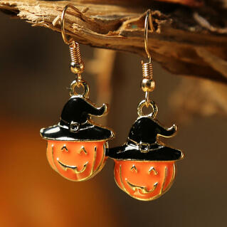 Halloween Pumpkin Face Pendant Earrings