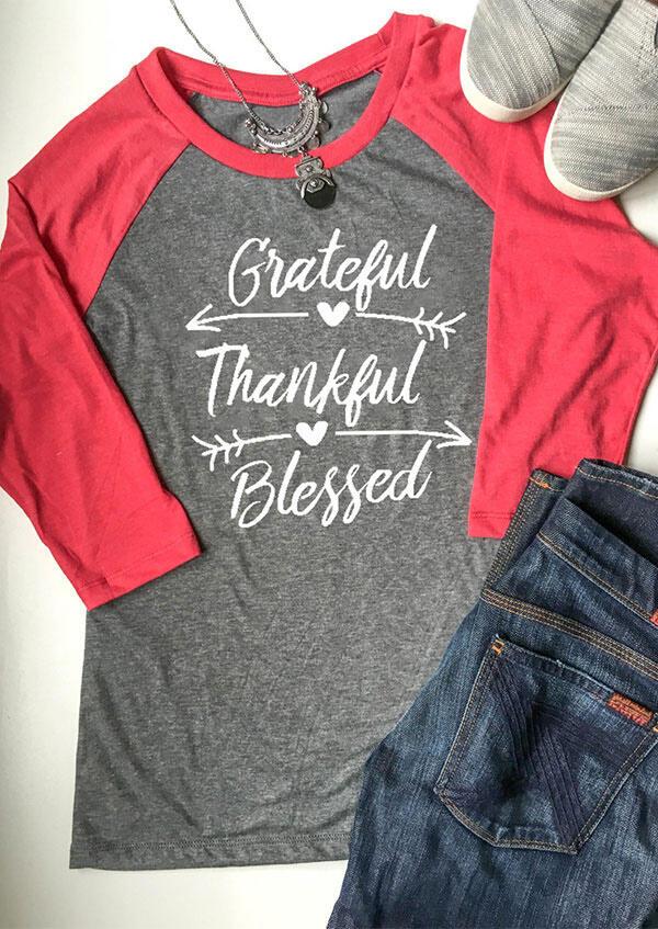 Grateful Thankful Blessed Baseball T-Shirt