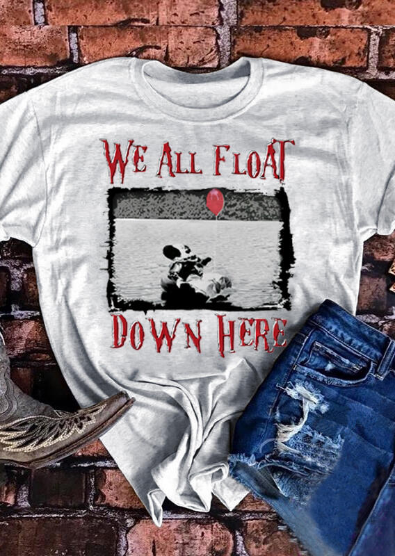 We All Float Down Here T-Shirt Tee – Light Grey