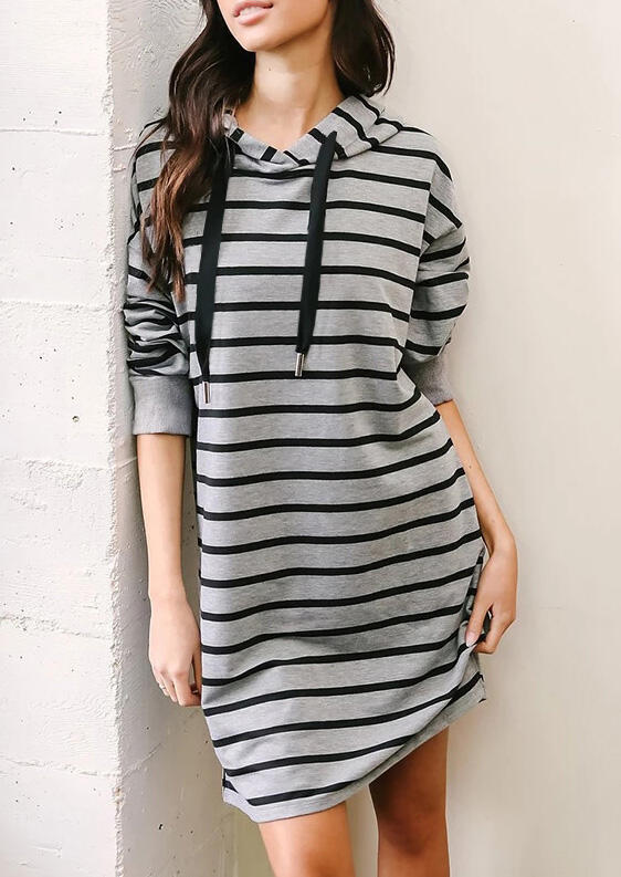Striped Long Sleeve Hooded Mini Dress – Gray