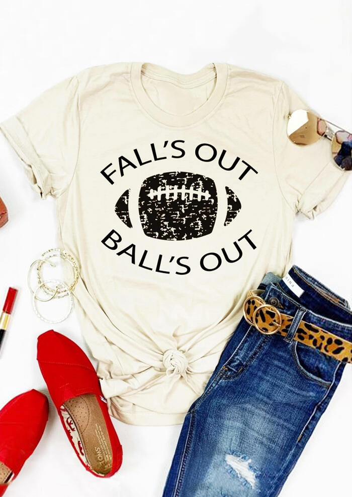 Fall's Out Ball's Out Baseball T-Shirt Tee – Cream