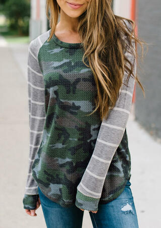 Camouflage Printed Striped T-Shirt Tee