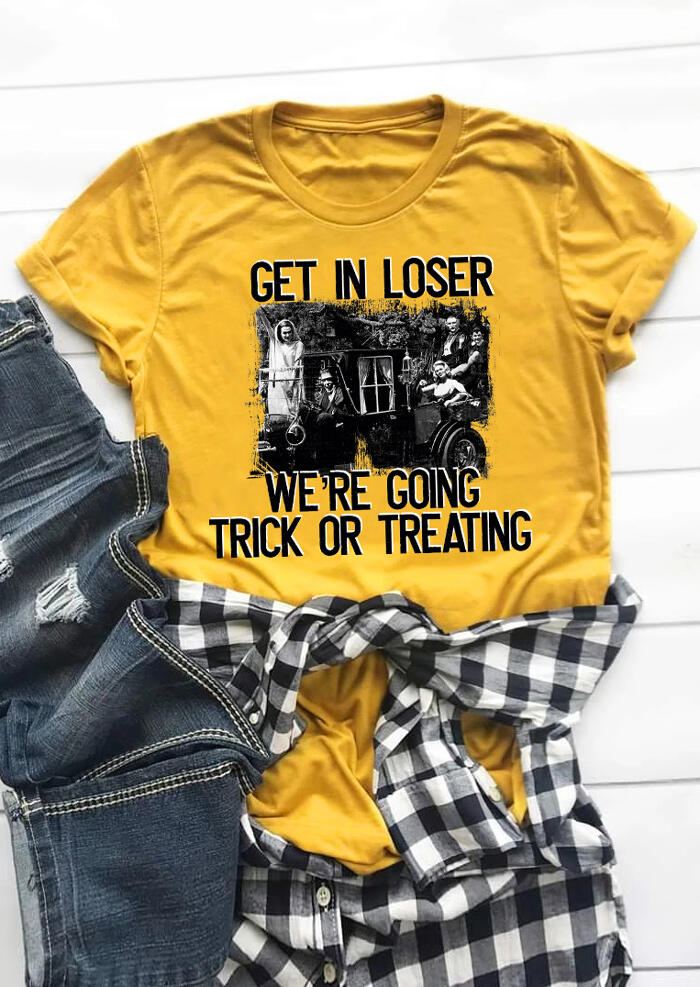 Get In Loser We Are Going Trick Or Treating T-Shirt Tee – Yellow