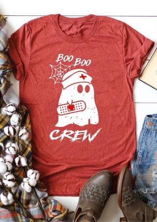 Boo Boo Ghost Crew T-Shirt Tee - Brick Red