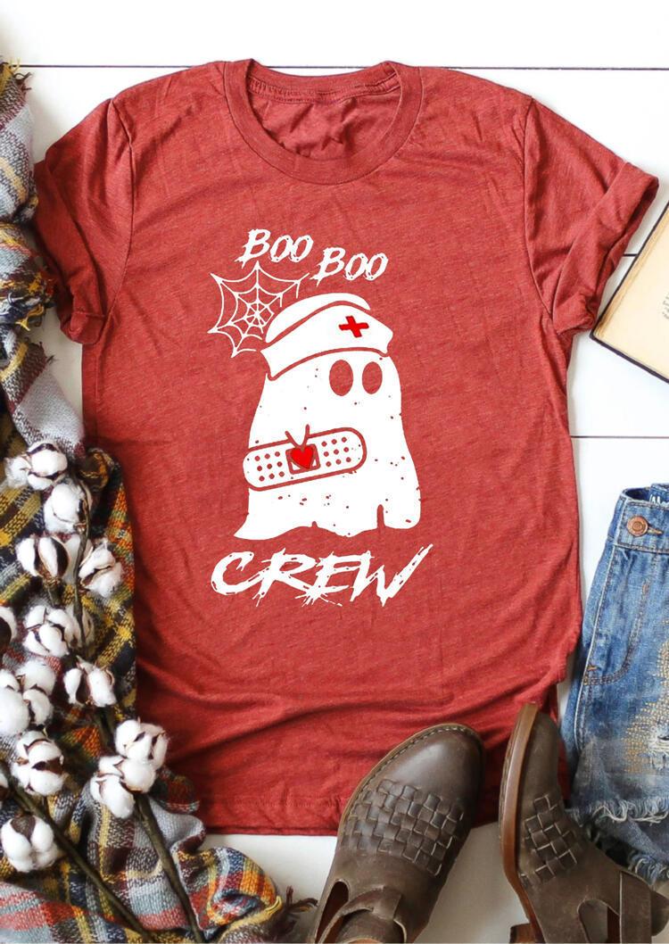 Boo Boo Ghost Crew T-Shirt Tee – Brick Red
