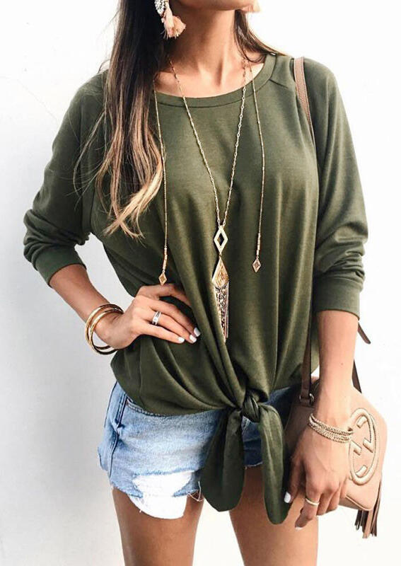 Solid Tie Long Sleeve Blouse without Necklace – Army Green