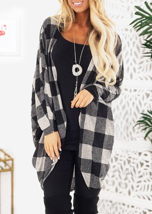 Cardigans Plaid Long Sleeve Cardigan without Necklace in White. Size: S,M,L,XL,2XL фото