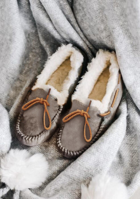 Winter Tie Slip-On Round Toe Fur Flats – Gray