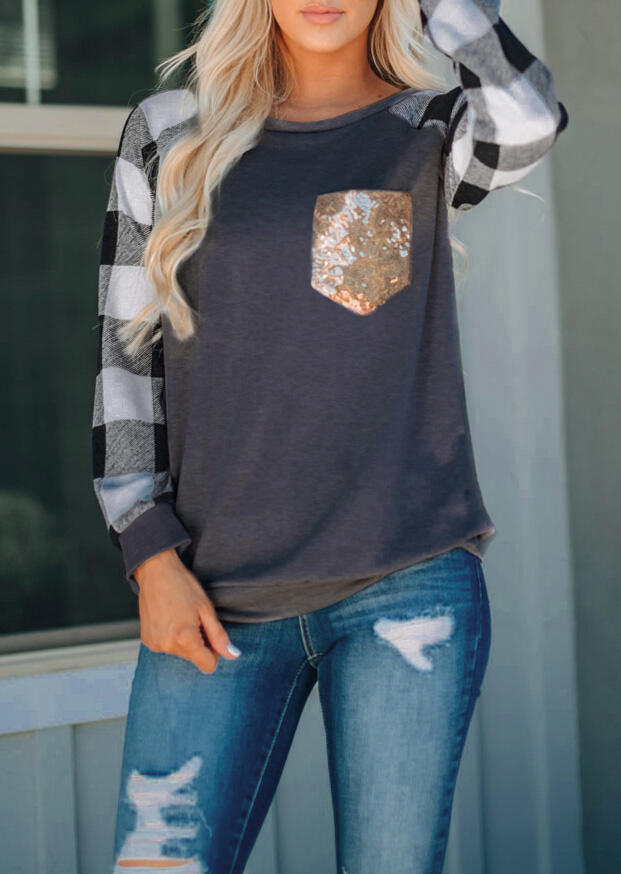 Plaid Splicing Sequined Pocket T-Shirt Tee - Dark Grey фото