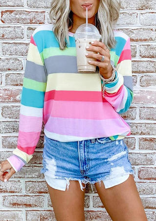 Striped Color Block O-Neck Blouse