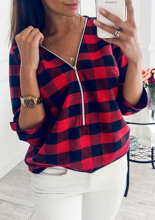Plaid V-Neck Zipper Blouse without Necklace - Red