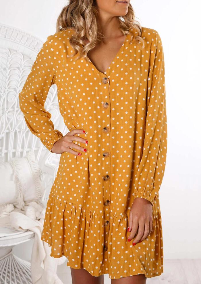 Polka Dot Button Ruffled V-Neck Mini Dress – Yellow