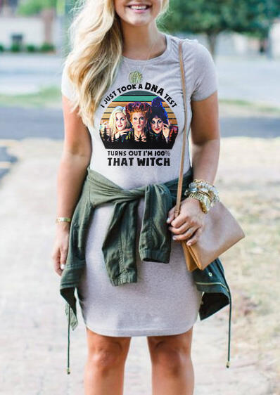 I Just Took A DNA Test I'm 100% That Witch Mini Dress without Necklace – Light Grey