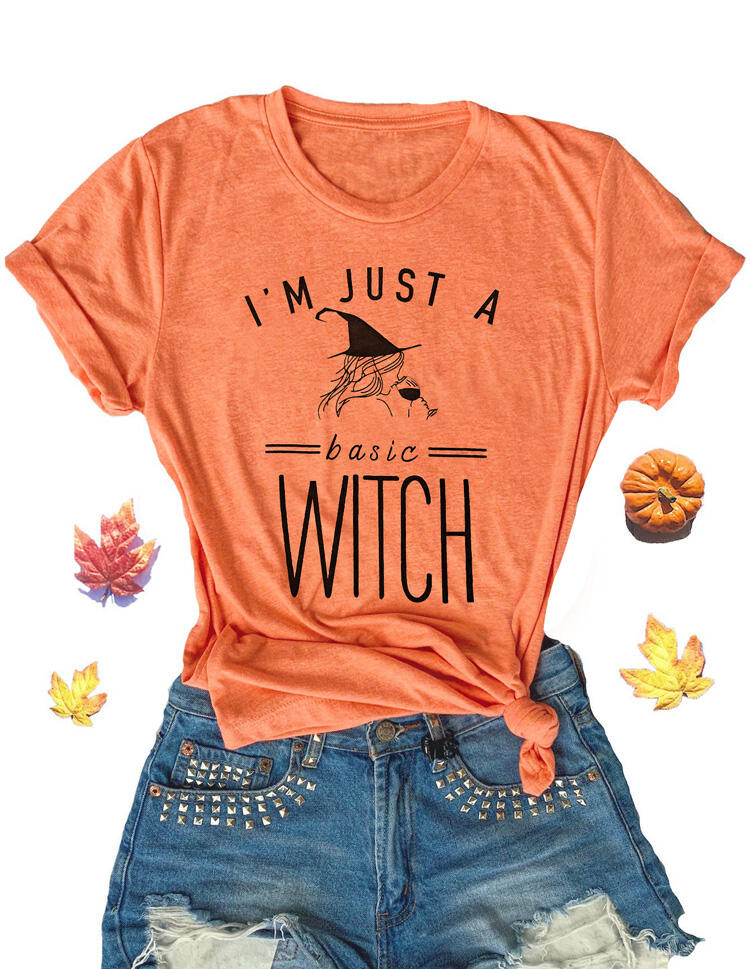Halloween I'm Just A Basic Witch T-Shirt Tee – Orange