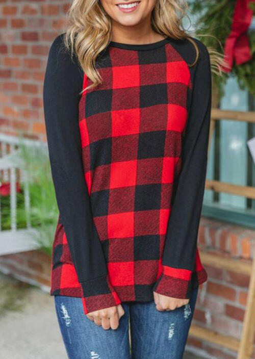 Black Long Sleeve Spliced Red Black Plaid T-Shirt For Women in Red. Size: S,M,L,XL фото