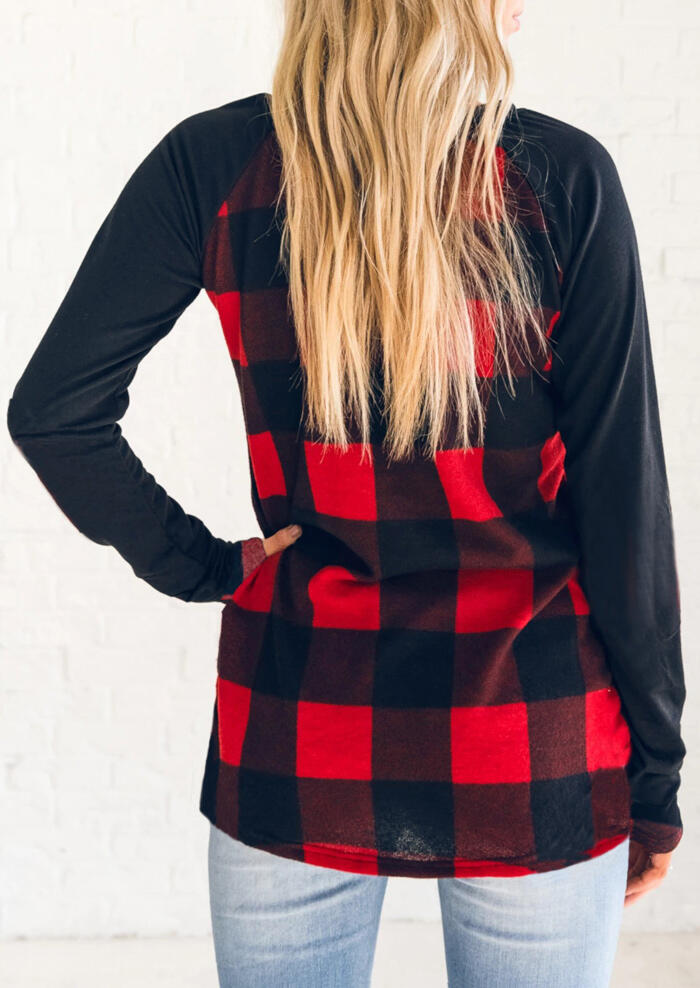 Plaid Splicing Long Sleeve T-Shirt Tee - Red