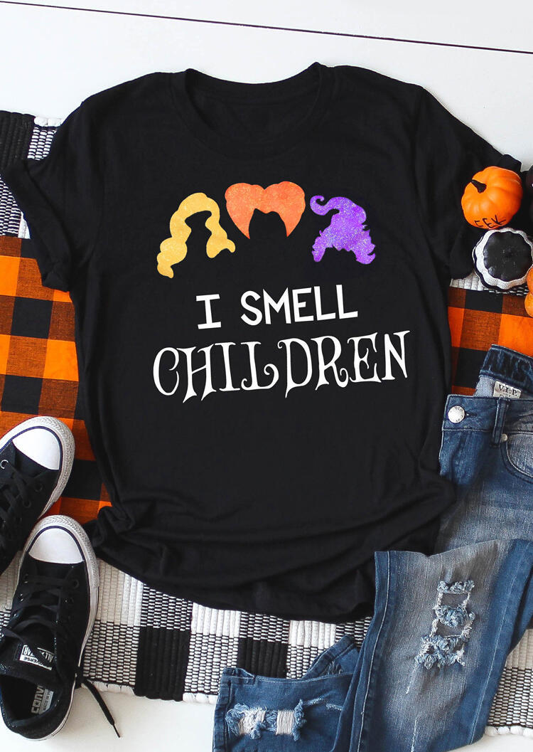 Tees T-shirts I Smell Children Halloween T-Shirt Tee in Black. Size: S,M,L,XL фото