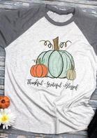 Thankful Grateful Blessed Pumpkin T-Shirt Tee - Light Grey