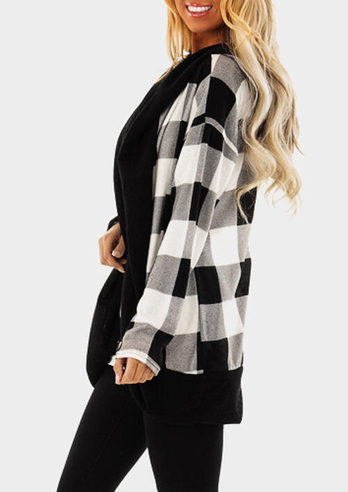 Plaid Splicing Long Sleeve Cardigan without Necklace