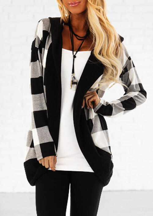 Plaid Splicing Long Sleeve Cardigan without Necklace фото
