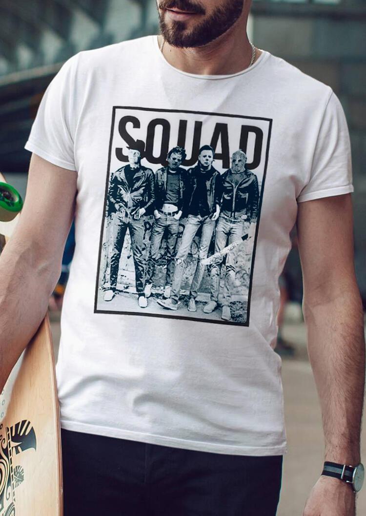 Men's Halloween Horror Squad O-Neck T-Shirt Tee – White