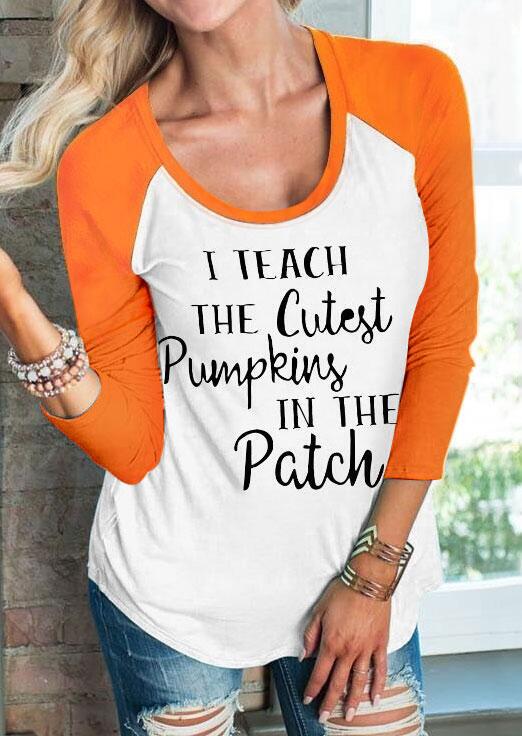 Halloween I Teach The Cutest Pumpkins Baseball T-Shirt Tee – White