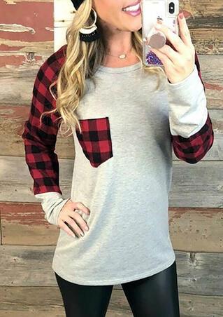 Plaid Splicing Pocket T-Shirt Tee - Gray