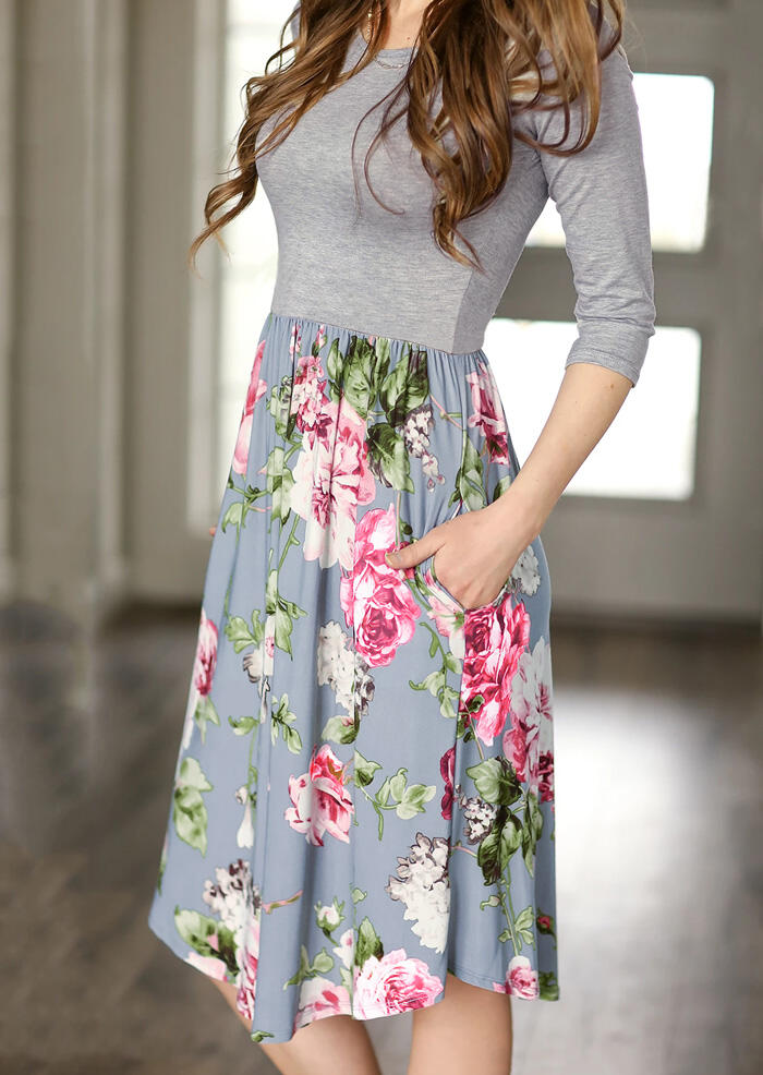 Floral Splicing Ruffled Casual Dress – Gray