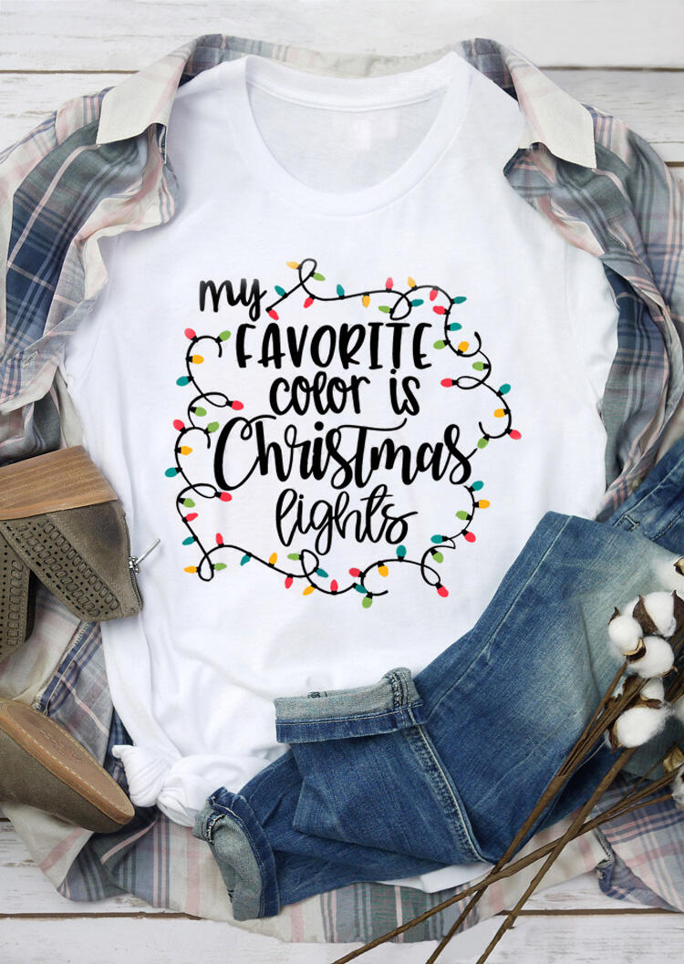 My Favorite Color Is Christmas Lights T-Shirt – White