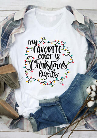 My Favorite Color Is Christmas Lights T-Shirt - White