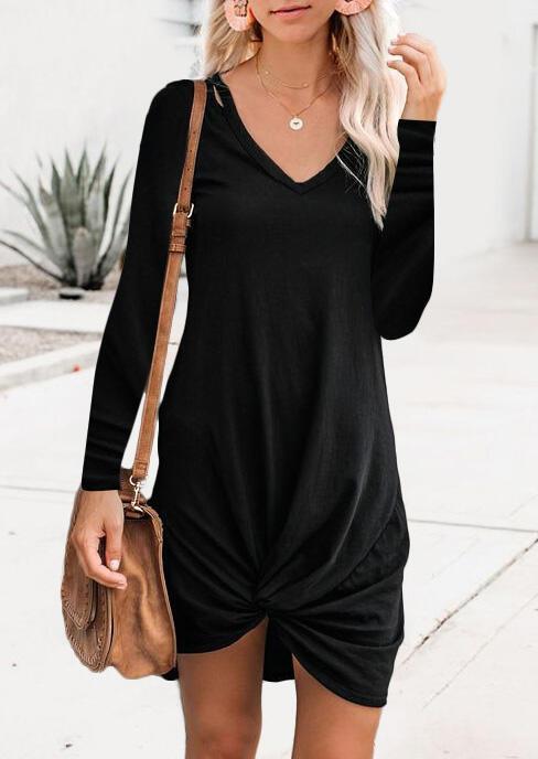 Solid Twist V-Neck Mini Dress without Necklace – Black