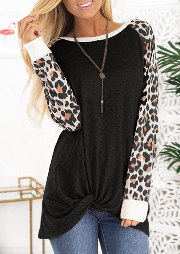 Leopard Printed Twist Long Sleeve Blouse without Necklace – Black