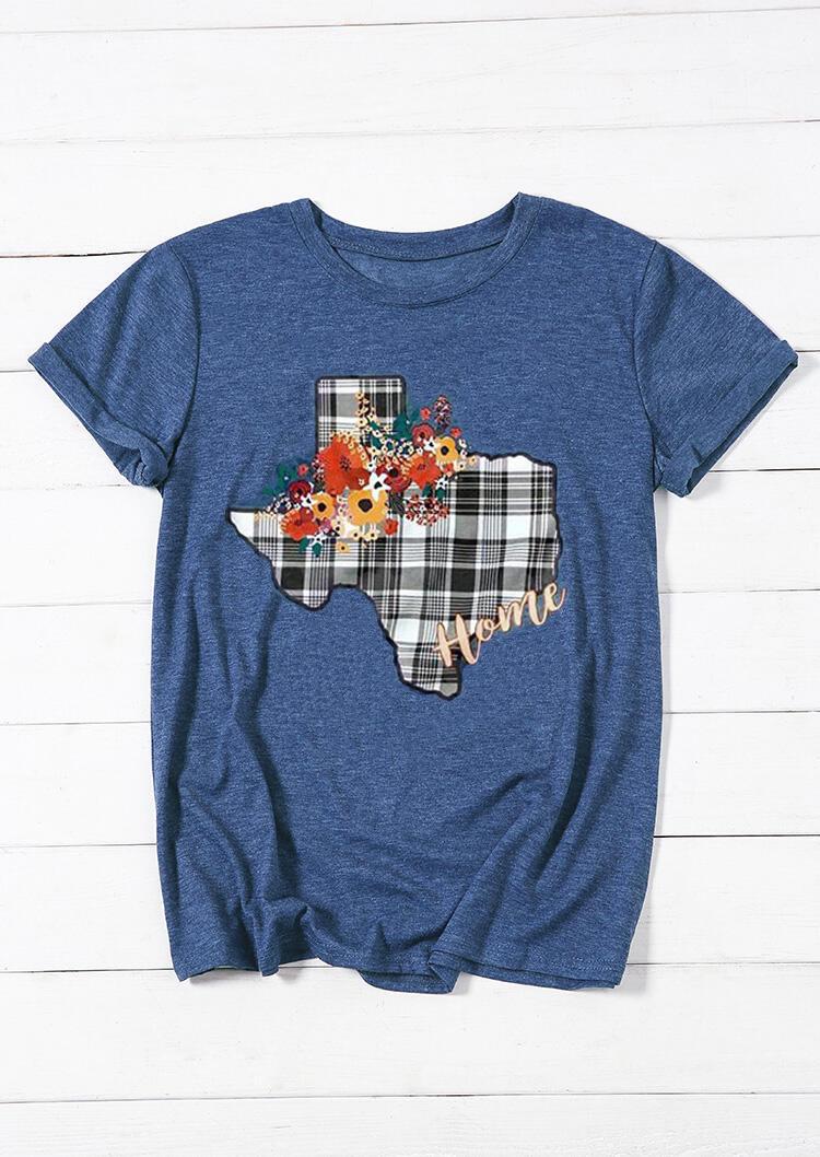 Tees_Tshirts_Texas_Home_Floral_Plaid_TShirt_Tee__Blue_Size_SMLXL