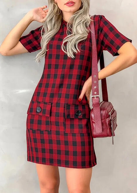Plaid Pocket O-Neck Mini Dress - Red фото