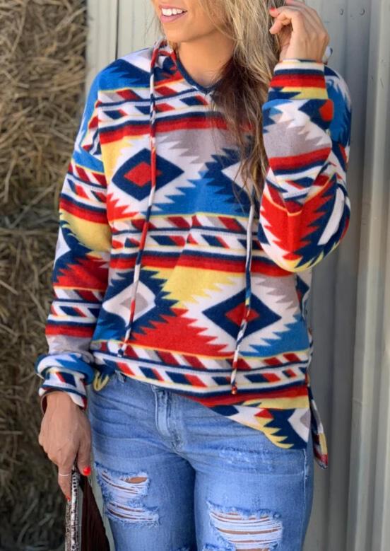 Hoodies_&_Sweatshirts_Aztec_Geometric_Printed_Drawstring_Hoodie__Multicolor_Size_SMLXL