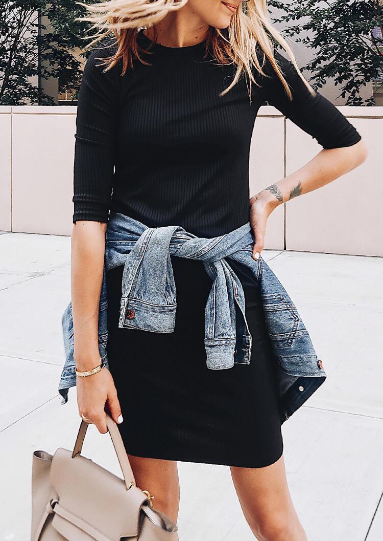 Mini_Dresses_Solid_Half_Sleeve_Knit_Mini_Dress__Black_Size_SMLXL